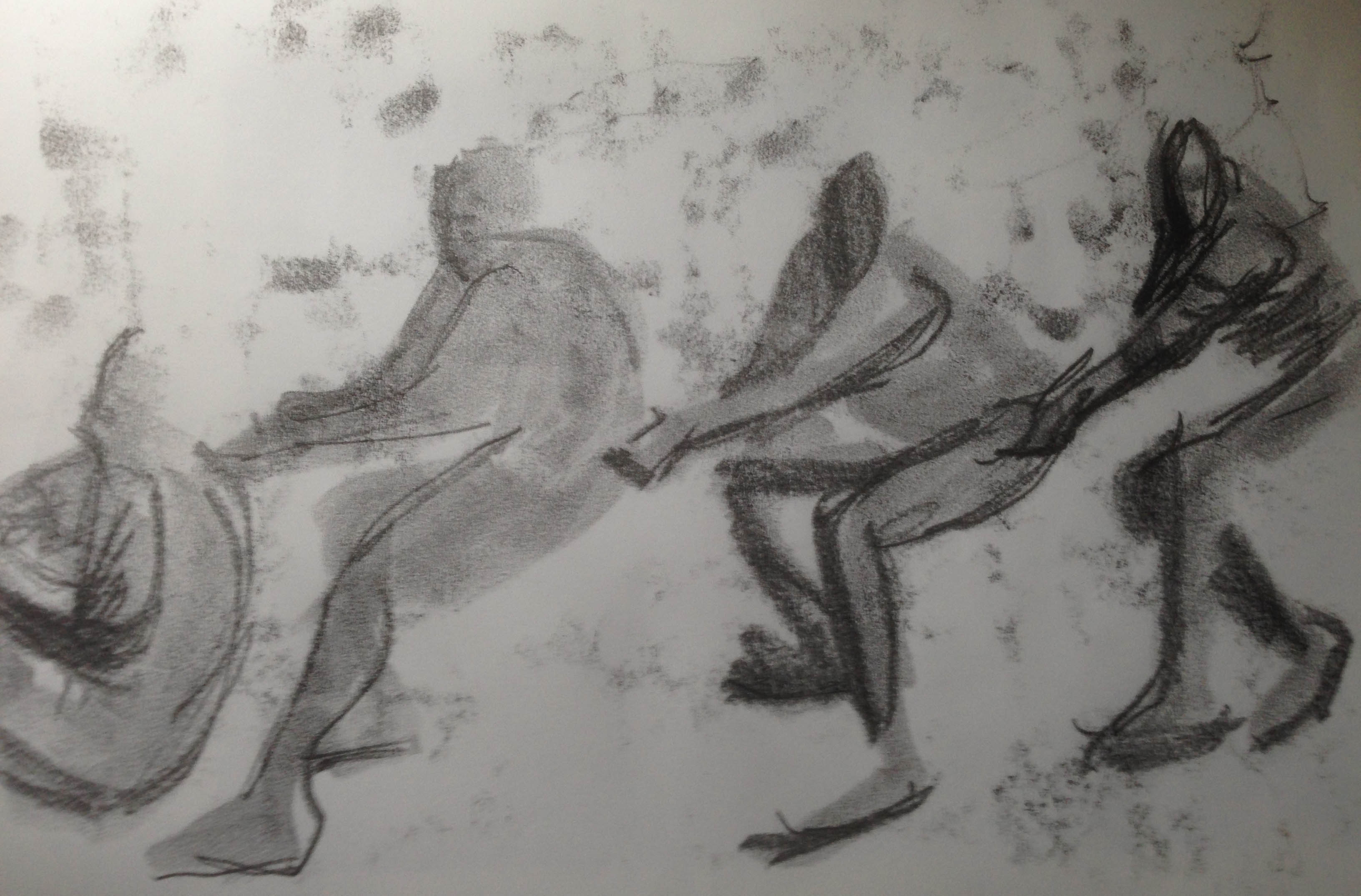 monoprint finger drawing sketch woman falling