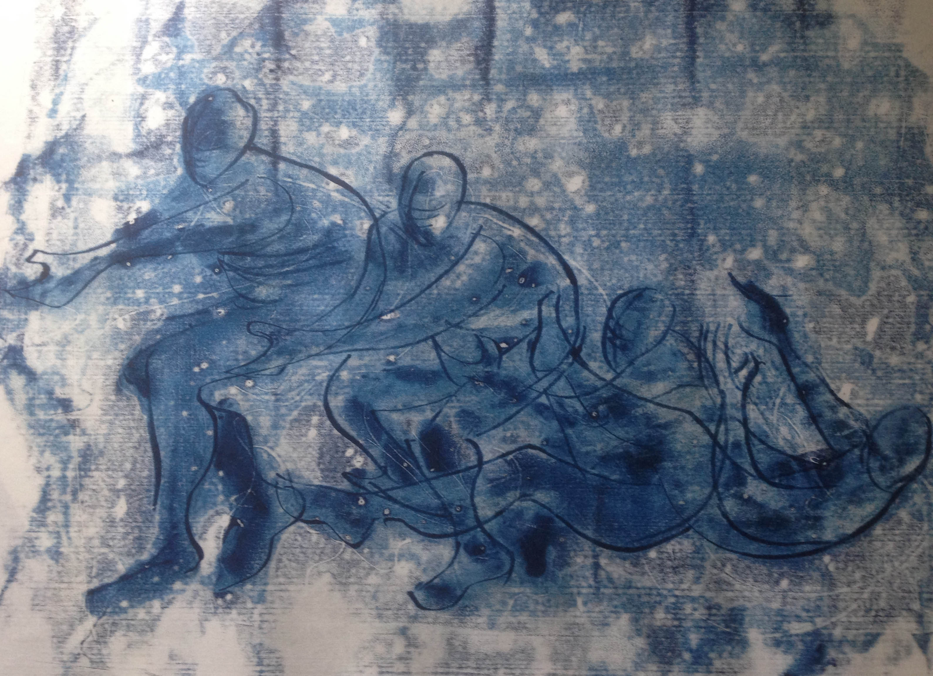 woman falling blue B1