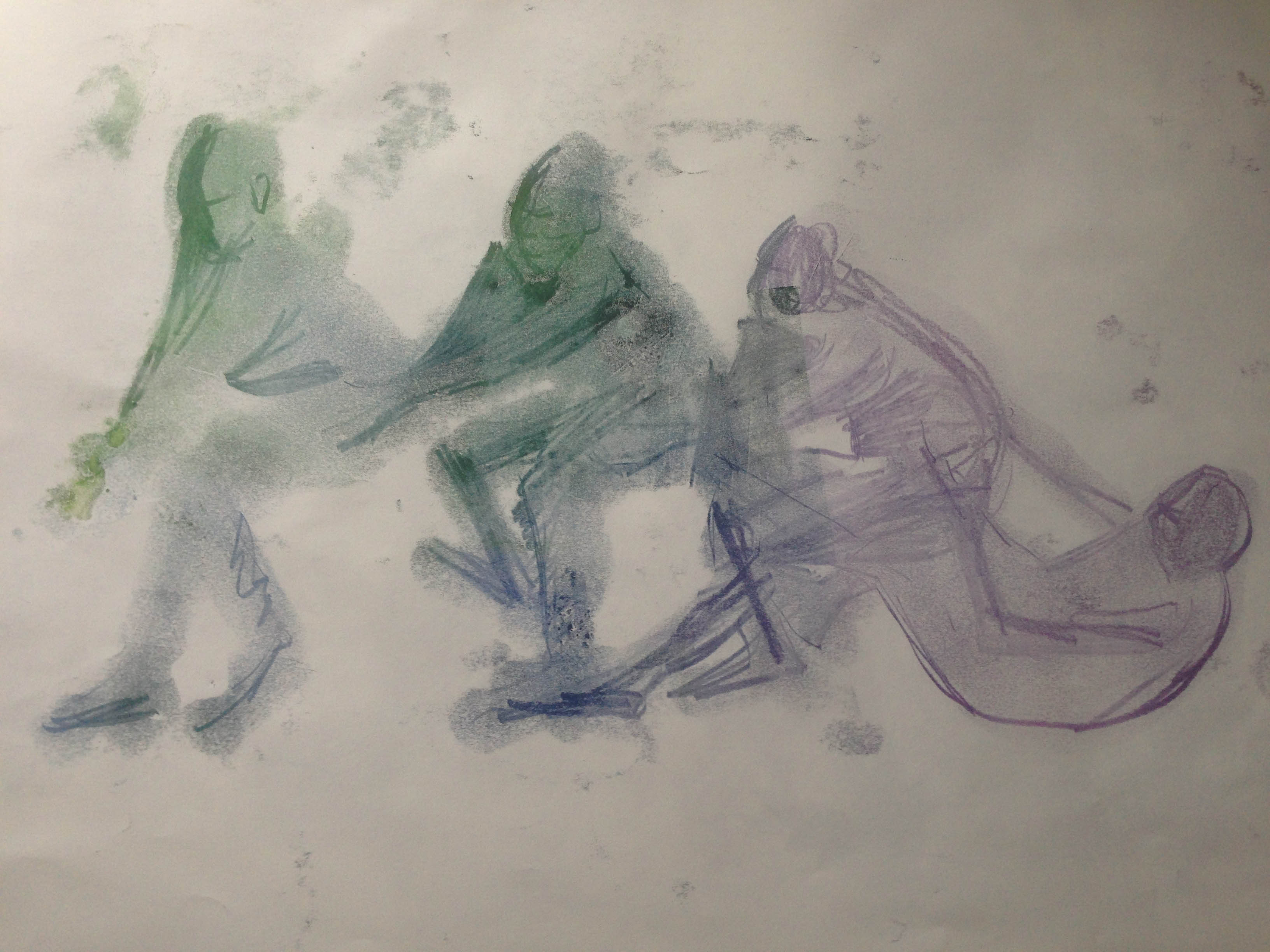 woman falling diff colour monoprint sketch